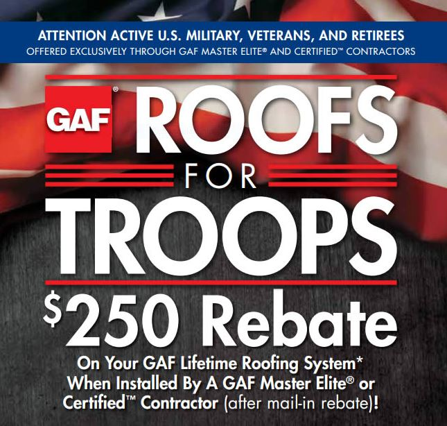 CO Roofing - Roof For Troops Rebate for Active Duty and Retired Military Discount